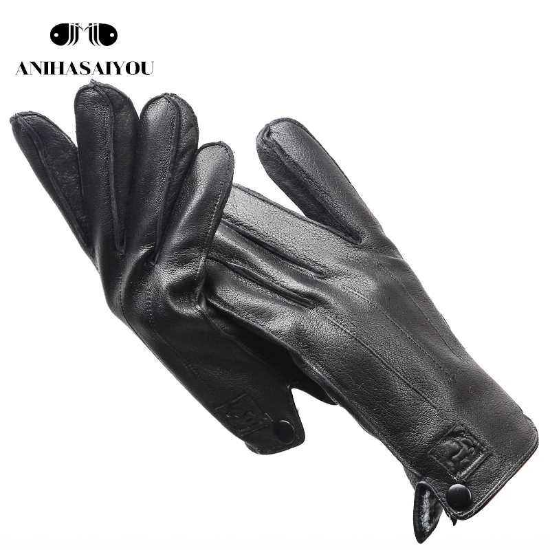 Soft Lining 100% Real Leather Men's Winter Gloves,High Grade Leather Gloves Men,sheepskin Men's Genuine Leather Gloves-8012