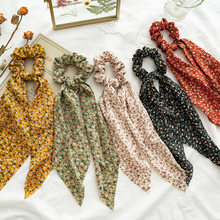 Diadema elástica de flores para mujer, accesorios de cabello para mujer, turbante vintage, paquete de coleta, banda elástica
