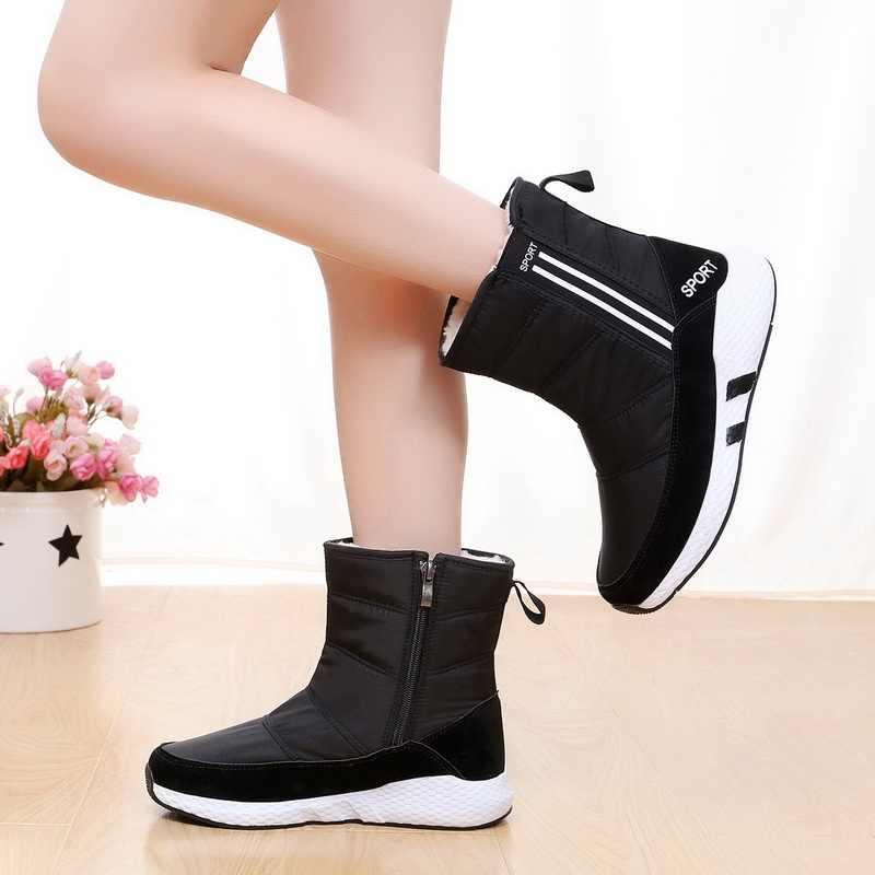 บู๊ทสำหรับรองเท้าบูทฤดูหนาวรองเท้าบูทแพลตฟอร์มรองเท้าบูทกันลื่นกันน้ำฤดูหนาวรองเท้าขนสัตว์หญิง Botas Mujer botas plush