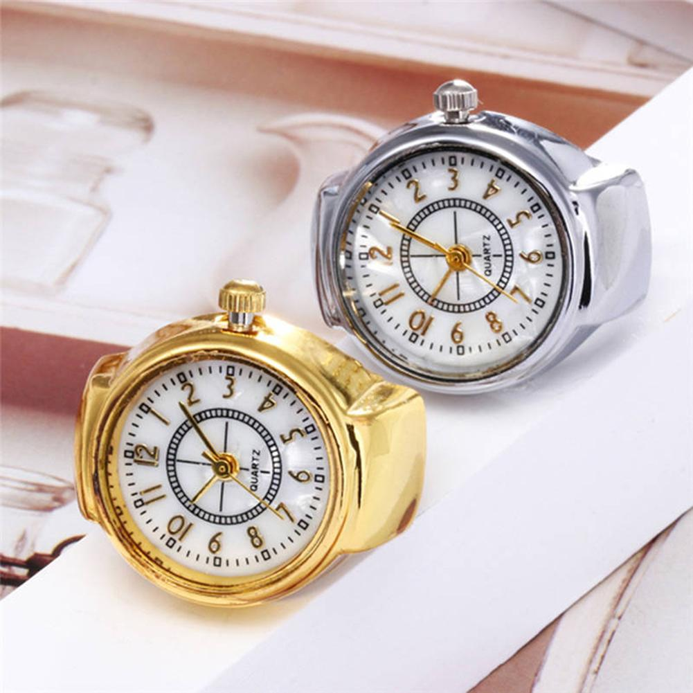Mini Size Couple Watches For Women Men Ring Watch Round Dial Arabic Numerals Analog Quartz Ring Watches Ladies Finger Ring Watch