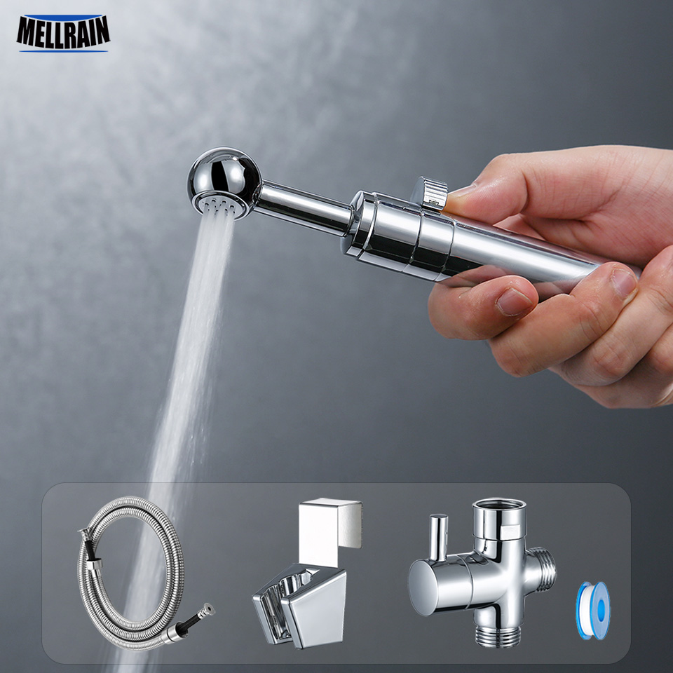 Flow Adjustable Handheld Toilet Bidet Sprayer Kit. Chrome Plated Bathroom Bidet Faucet Multi Purpose Spray Washer