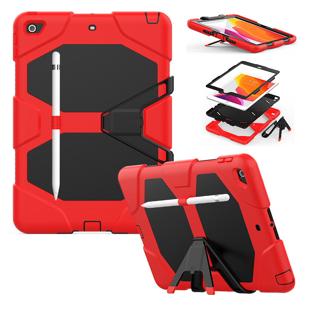 For iPad 10 2 Case Heavy Duty PC Silicone Rugged Armor Kids Shockproof Kickstand Case for
