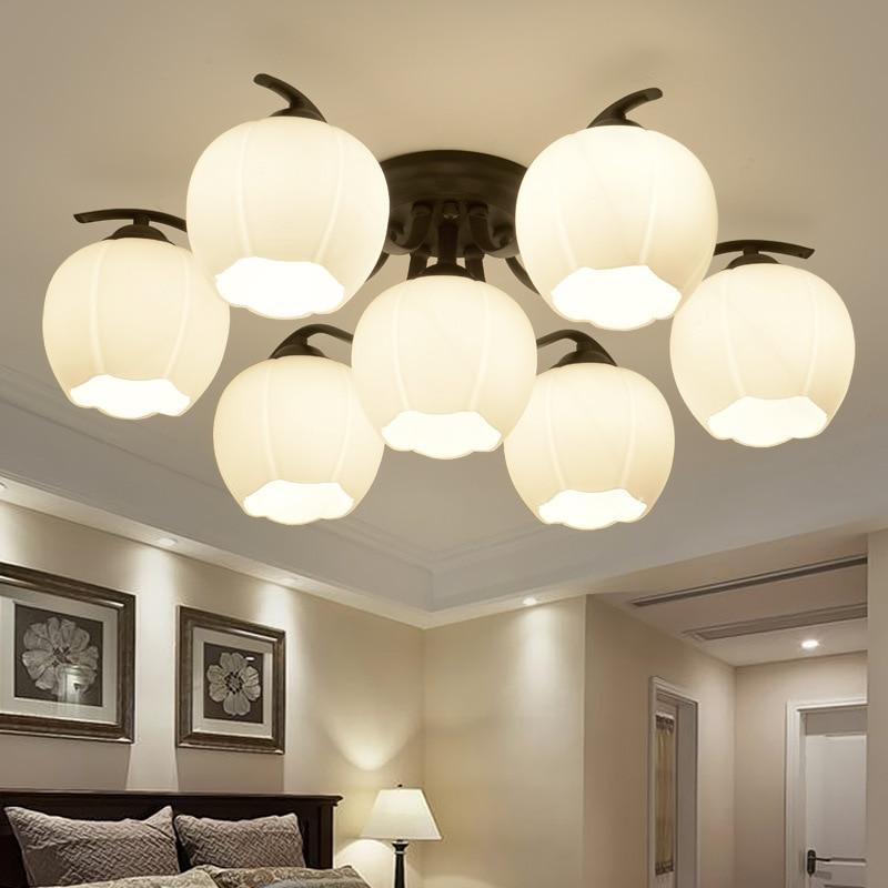 Американский кантри гостиная Светодиодная потолочная лампа современный стеклянный цветок Спальня Кабинет Прихожая осветительная арматур