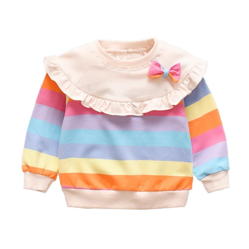 Spring Autumn Long Sleeve Baby Girl Clothes Cute Bowknot Rainbow Stripe Girls Sweatshirt Comfortable Cotton Pullover Kids Jacket 1