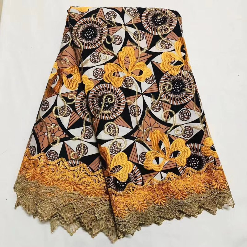 Ghana Nigerian Ankara Lace Wax African Fabric For Sewing, High Quality Cotton Embroidery Holland Print Wax Pange Materials Cloth