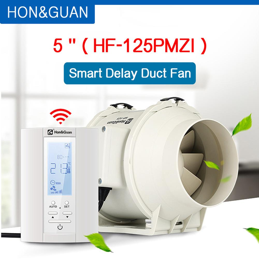 220V 5'' Extractor Smart Inline Duct Fan & Humidistat And Timer - Bathroom Ventilation Fan With Smart Sensor Controller (125mm)