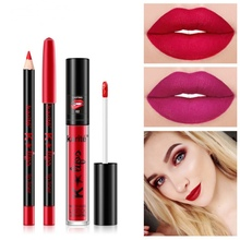 Hot Matte Lip Glaze Liner Set WaterproofLong Lasting Colorfast Liquid Lipstick Kit  Maquiagem Makeup