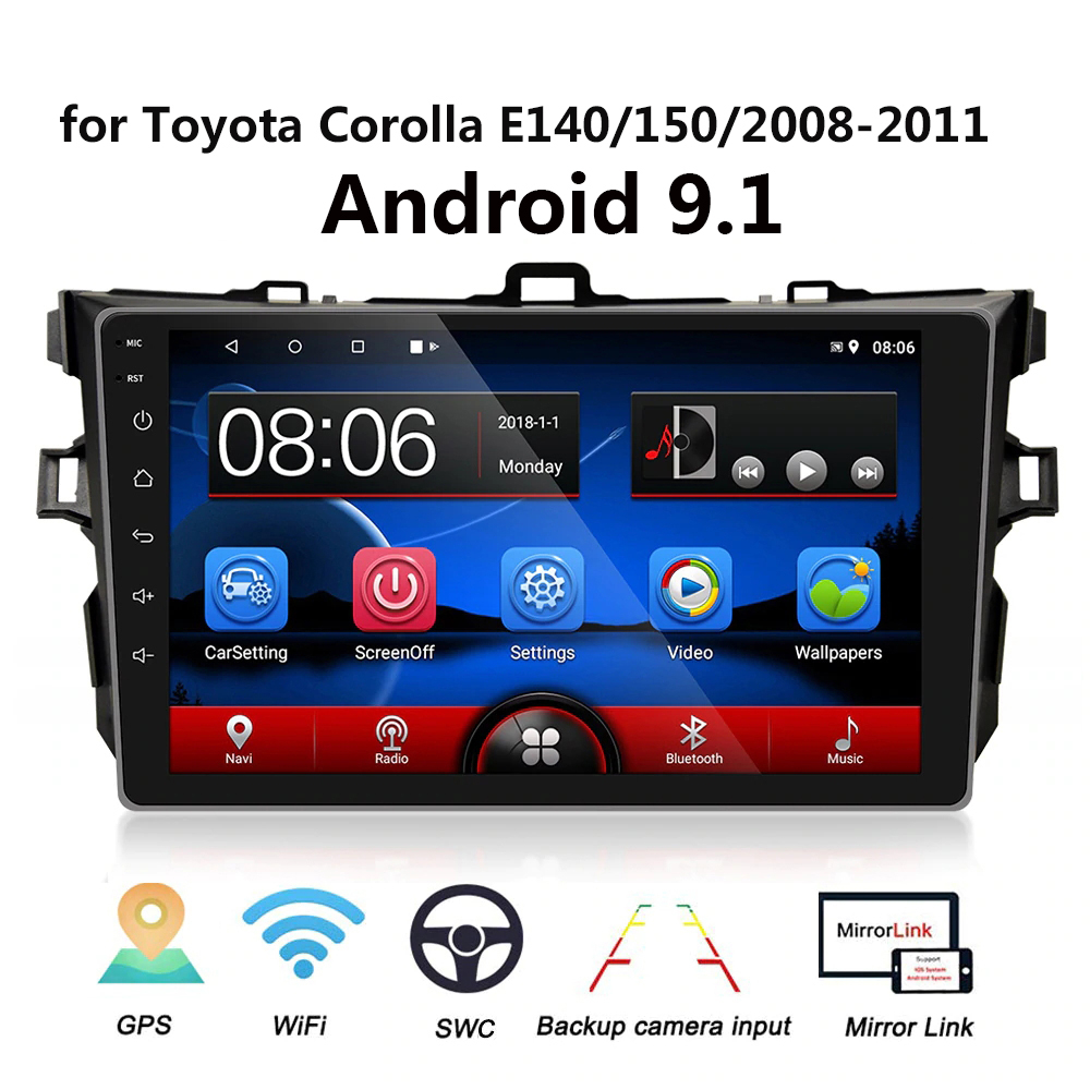 9 Inches 2din Android 9.1 Car Radio Multimedia Player For <font><b>Toyota</b></font> <font><b>Corolla</b></font> <font><b>E140/150</b></font> 2008 2009 2010 2011 Stereo navigation WIFI image