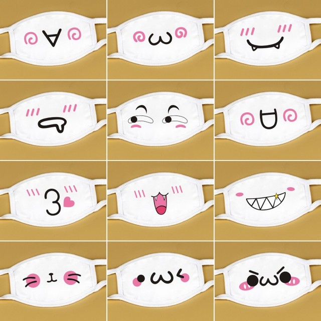 Korean Lovely White Anti Dust Mask Kawaii  Cotton Mouth Mask Cute Unisex Cartoon Mouth Muffle  Flu Face Mask Bear Mask 1