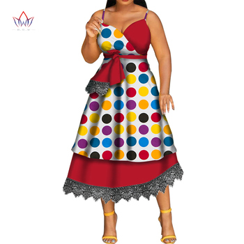 Sling Dress African Dresses for Women Wedding Party African Dresses for Women Dress V-neck Dashiki Dress Ankle Length WY5364