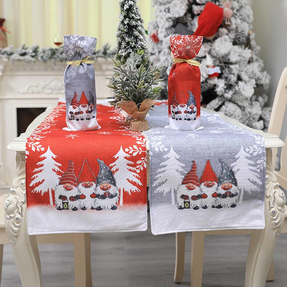 Long Cotton Linen Christmas Santa Table Runner Placemat Home Xmas Decoration NEW