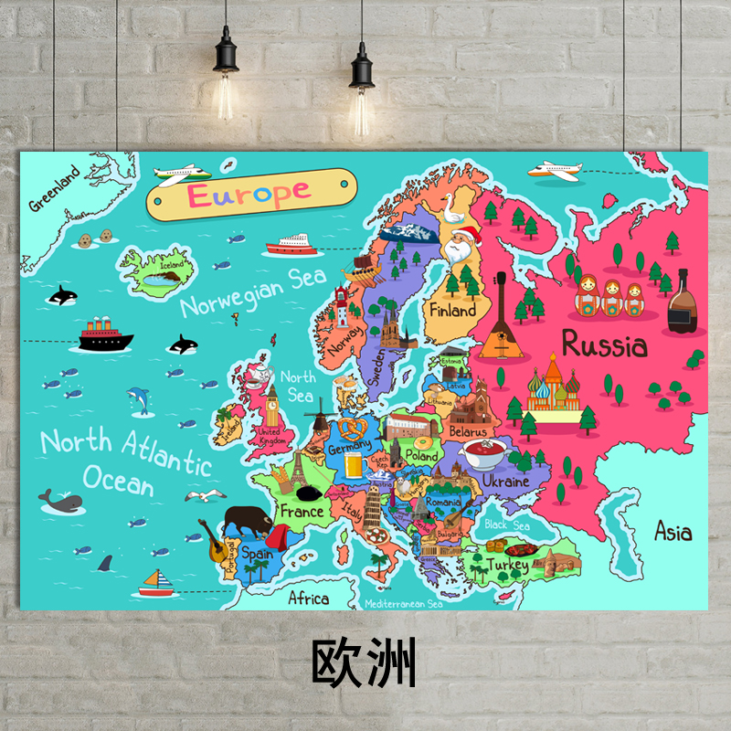 1 Pcs 30x40cm Cartoon Map Decoration Painting Europe Illustration Wall Painting Fabric Painting Core