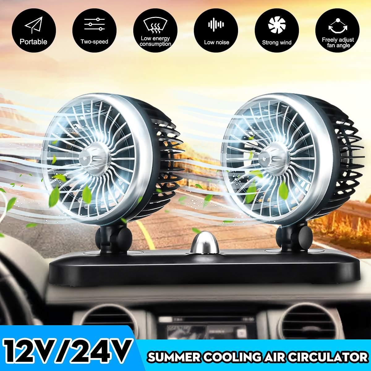 Ventosa elétrica portátil dupla cabeça, ventilador de ar automático ajustável, ventilador de carro, forte 12/24v refrigerador do veículo do vento