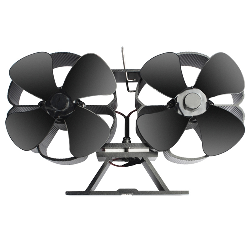 Double Motors Wood Stove 8-Blade Small Size Fan, Silent Heat Warm Power Powered Fire Eco Eco Stove Fan,Hot Dynamic Wood Stove