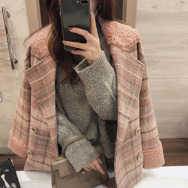 MISHOW 2019 autumn winter plaid woolen coat new fashion causal women turndown collar long pink coat