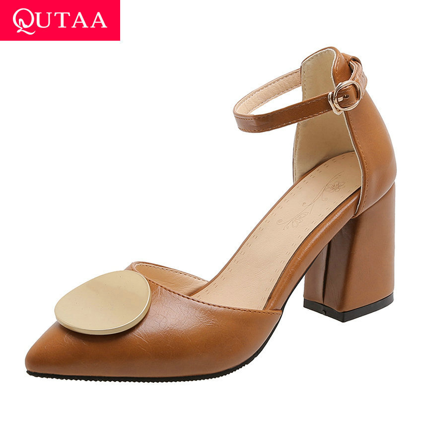 QUTAA 2020 Square High Heel Elegant Women Shoes Sexy Pointed Toe Women Pumps PU Leather Buckle Ladies Sandals Big Size 34-43