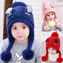 Fashion Baby Hat With Pom Pom Double Ball Cute Children Crochet Hat Ball Hat For Girls Winter Warm Baby Knitted Cap Beanie Cap(China)