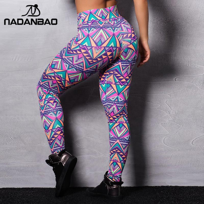 NADANBAO Women Leggings Fitness Geometric Printing High Waist Elastic Pants Fashion PUSH UP Sporting Leggins Slim Workout Legins