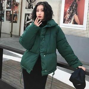 Image 3 - סתיו חורף מעיל נשים מעיל אופנה נשי Stand חורף מעייל דובון חם מזדמן בתוספת גודל מעיל מעיל מעיילי Q811