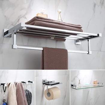 Luksusowe zestaw akcesoriów łazienkowych do prysznica łazienki produkty chrom prysznic szklana półka wieszak na ręczniki wieszak na ręczniki szczotka do wc uchwyt do montażu na ścianie tanie i dobre opinie Miedzi Chrome T1018B Metal Zestawy sprzętu do kąpieli Punch