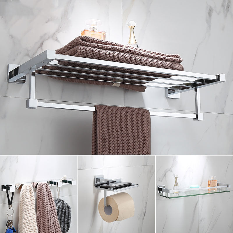 Luxury Bathroom Accessories Set Shower Bathroom Products Chrome Shower  Glass Shelf Towel Rack Toilet Brush Holder Wall Mount|Bath Hardware Sets| -  AliExpress