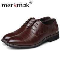 Merkmak Big Size 37 48 Oxfords Leather Men Shoes Fashion Casual Pointed Top Formal Business Male Wedding Dress Flats Wholesales
