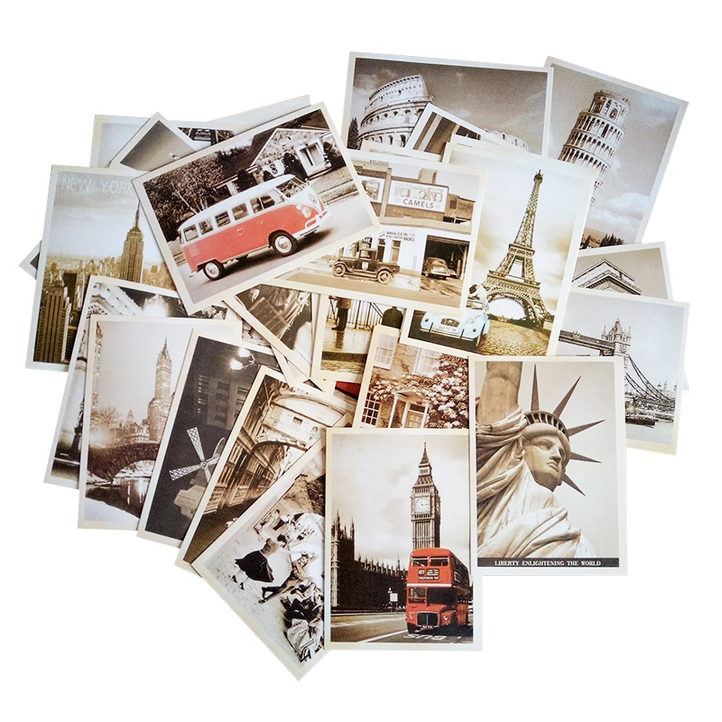 Image 5 - 7packs/lot Students DIY Cards 32Pcs/set NEW Vintage architectural landscape travel card set Postcard set Greeting Card Gift Card-in Business Cards from Office & School Supplies