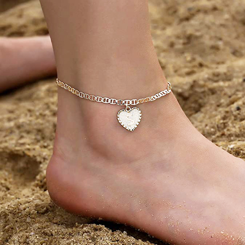 Initial Letter Anklet for Women A-Z Alphabet Heart Anklet Bracelet Foot Jewelry Letter Initial Feet Chain Summer Beach Anklet