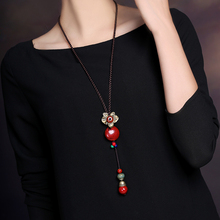 Ethnic style Red Ceramics Long Necklace Vintage Jewelry Women Sweater Chain Hanging Ornaments Chinese Decoration Chains
