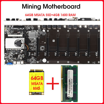 Riserless mining motherboard 8 GPU Bitcoin Crypto Etherum Mining  with 64GB MSATA SSD  DDR3 4GB 1600MHZ RAM SET 1