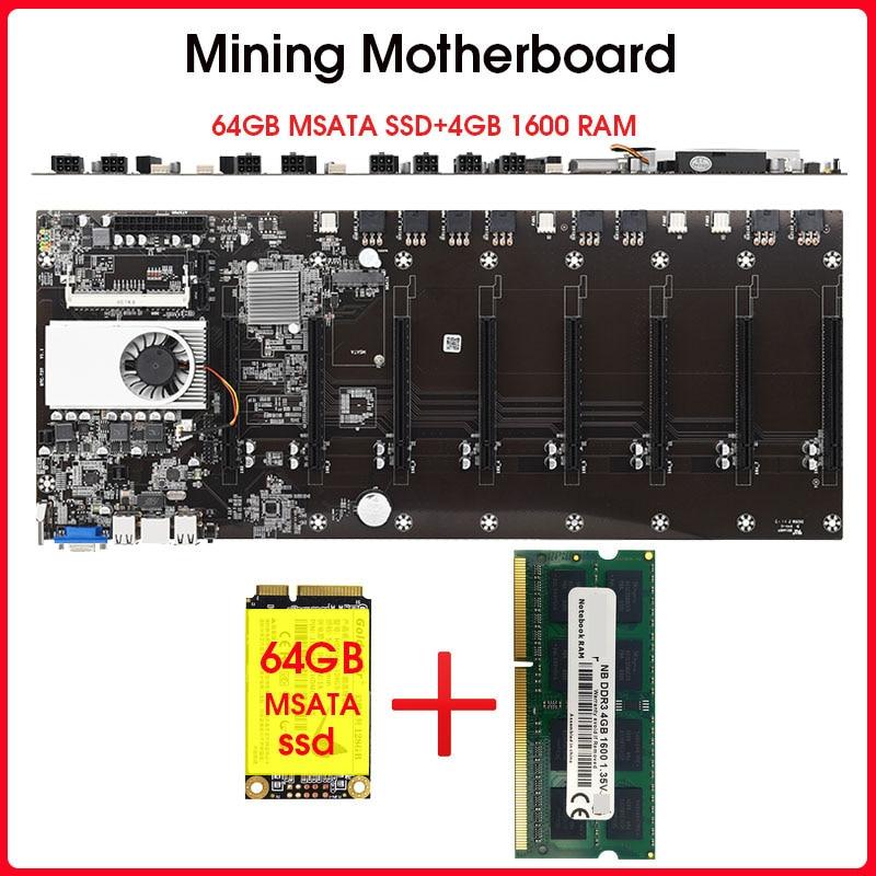 Резервная материнская плата 8 GPU для майнинга биткоина, криптовалюма, майнинга с 64 Гб MSATA SSD DDR3 4 Гб, 1600 МГц, Комплект оперативной памяти