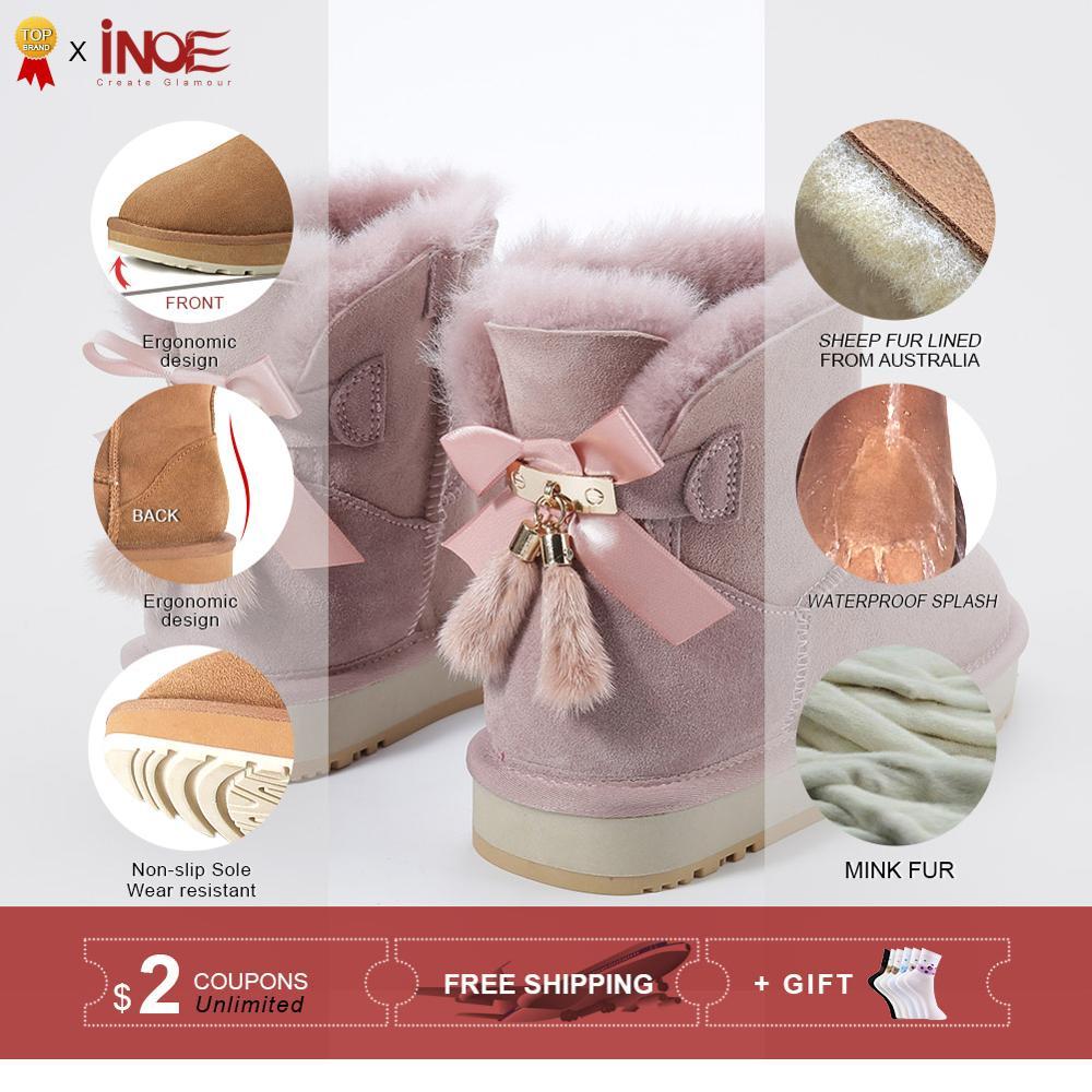 Inoe pele de carneiro couro de lã forrado mulheres curto tornozelo camurça botas de neve com bowknots vison pele borlas manter sapatos quentes - 2