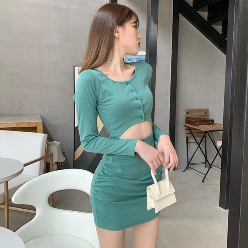 Корейское модное платье с длинным рукавом Женские однотонные