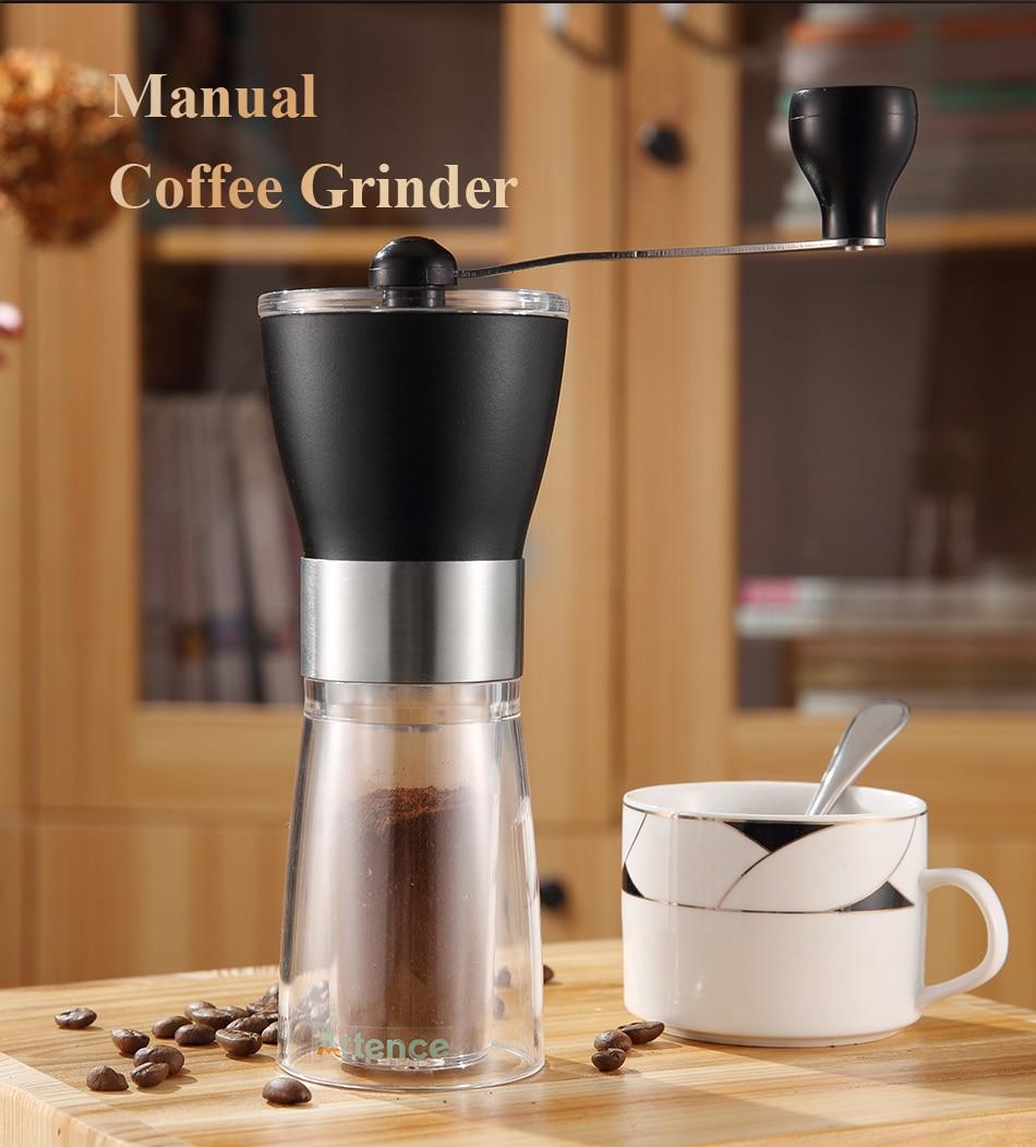 Ручная керамическая кофемолка для кофе, домашняя кухонная ручная кофемолка из нержавеющей стали с керамическим сердечником из АБС-пластик...