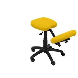 Stołek biurowy ergonomiczny obrotowy i ściemnialny na dużych wysokościach tapicerowany w kolorze bibuły BALI żółty (RODILLE