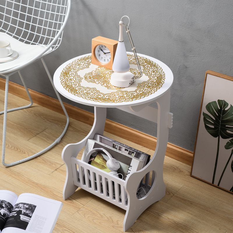 Mini Plastic Round Coffee Tea Table for Living Room Storage Rack Bedside Table White with Mat