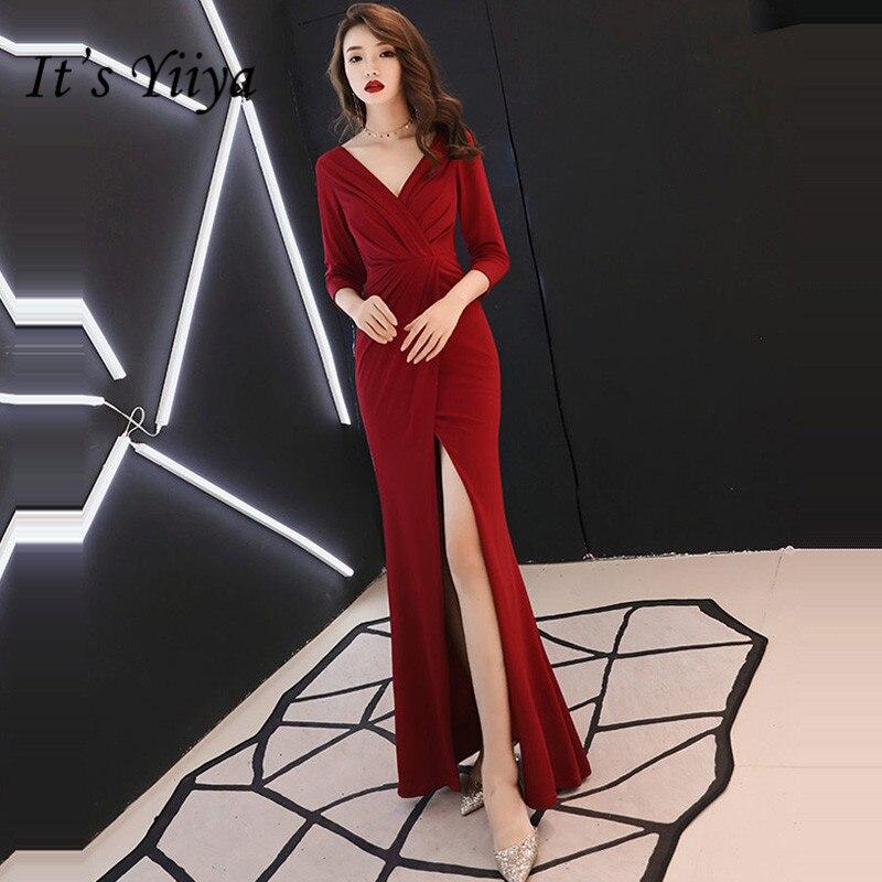 It's Yiiya Evening Dress 2019 V-Neck Three Quarter Burgundy Elegant Women Party Dress Floor Length Trumpet Robe De Soiree E791