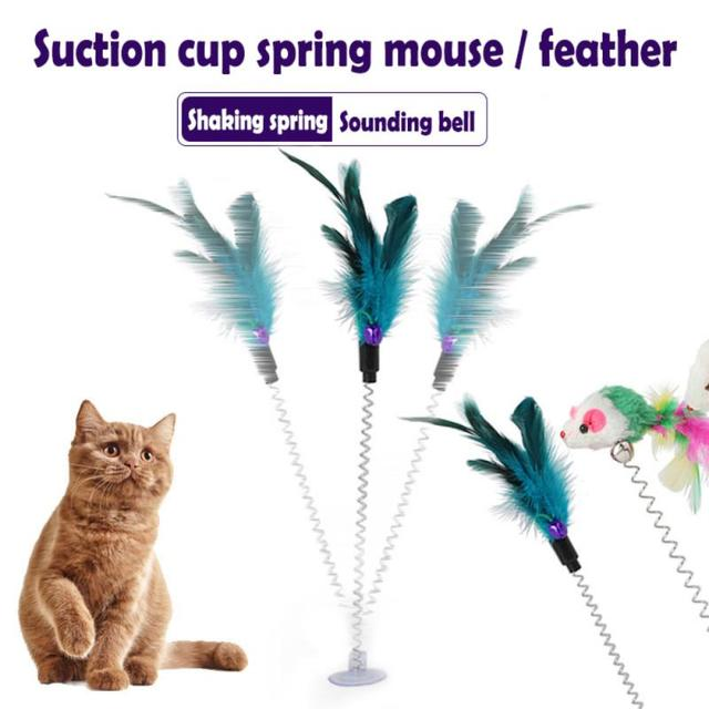 Cat Toy For Cats Cup With Bell Spring Mouse Spring Feather Pet Products Cat Toy Goods For Animals Cat Accessories TXTB1
