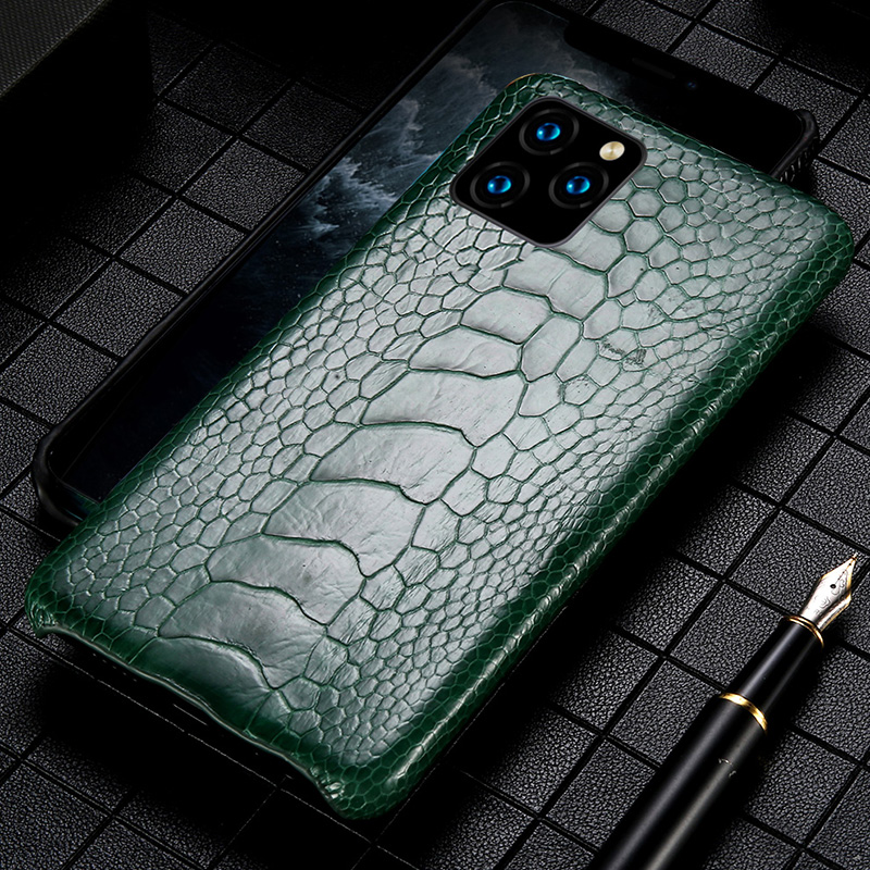 Genuine Leather Ostrich feet phone case for iPhone 11 11 pro max 11 pro 5 6 6 plus 7 8 plus X XS XSmax XR Luxury Anti-fall Cover