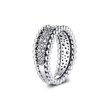 цена на Ring Beaded Pavé Band Rings For Women Anillos Mujer Bague 925 Sterling Silver 925 Jewelry bijoux Femme Joyas Plata Para Mujer