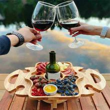 Portable Wooden Picnic Table Carry Handle Outdoor Folding Wine Table Removable Wine Glass Holder Folding Table Fruit Snack Tray