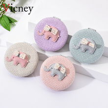 Vicney Fashion Round Pocket Folding Makeup Mirror Linen Cloth Simple Cartoon Cute Baby Elephant Pattern Compact