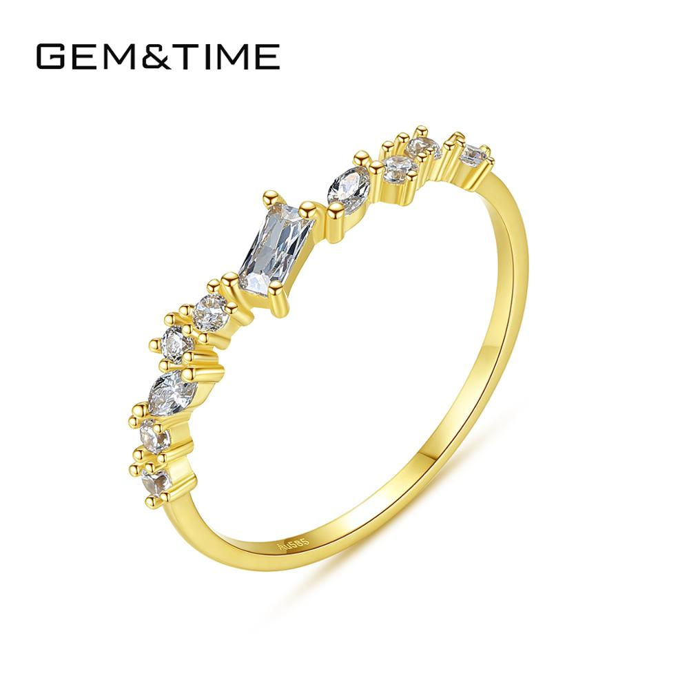 Gem&Time Genuine 14k Gold Topaz Baguette Ring For Women Promise Gemstone Ring Jewelry Bague Femme Gold 585 Jewelry Gift R14149