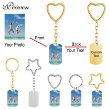 Personalized Custom Photo Text Keychain Stainless Steel Engrave Name Date Heart Star Round Key Ring Gold Pendant Key Chain DIY