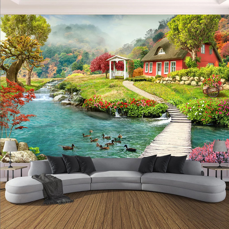 Custom Mural Wallpaper 3D Pastoral Landscape Photo Wall Painting Living Room Bedroom Background Wall Home Decor Wall Treatments