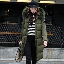 Women Winter Parkas Plus-Size Coats Bubble-Jacket Hooded Fur-Collar X-Long Female Korean-Style
