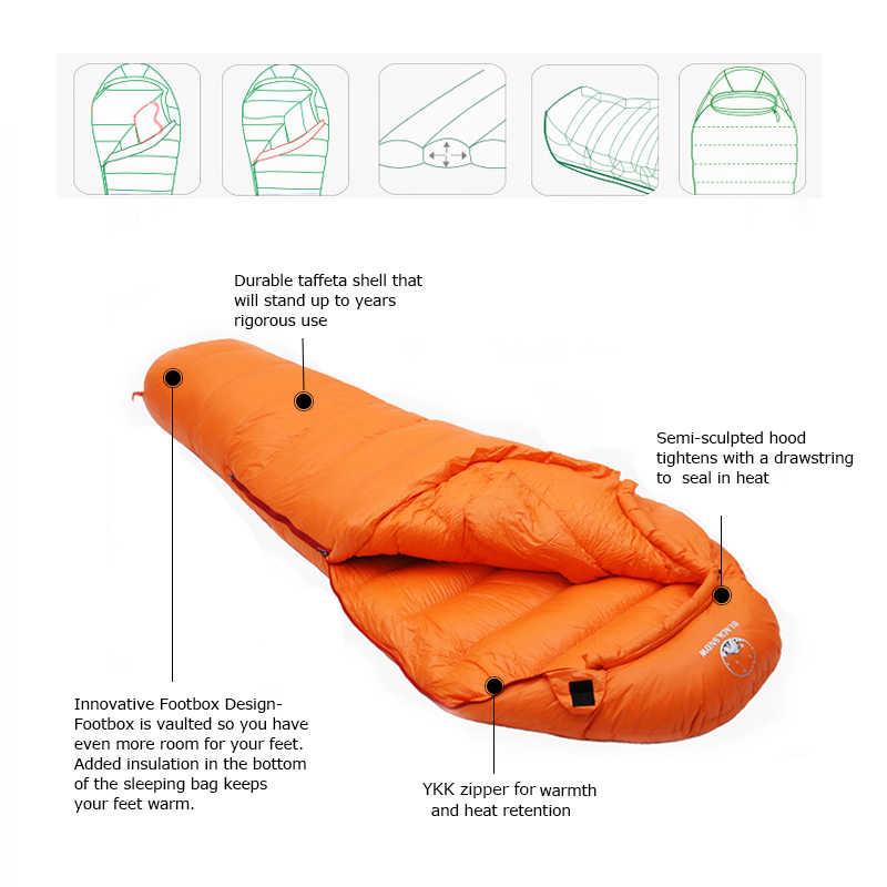SCHWARZ SCHNEE Winter Ultraleicht Thermische Erwachsene Mumie 95% Weiße Gans Unten Schlafsack Sack W/Compression Pack Für Camping wandern