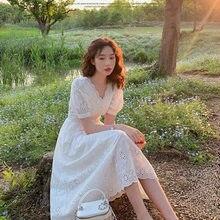 Vestido nuevo de estilo princesa francesa muestra cintura fina con cuello en V blanco manga de burbuja en el Verano de 2020