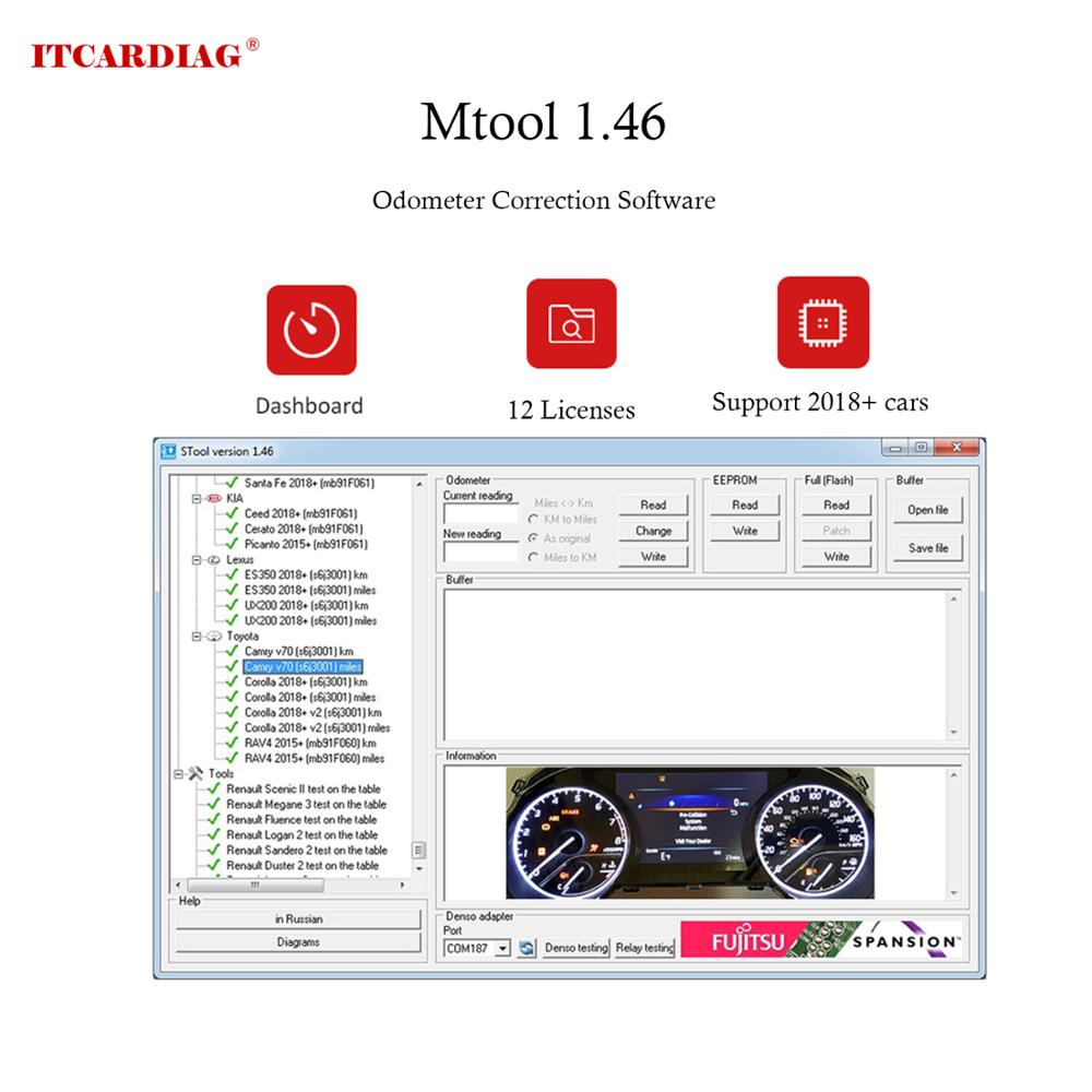 MTool V1.46 Odometer Correction Software Dongle + Denso Adapter + Denso Pin Wires Cable Mileage Correction Tool Supports 2018+