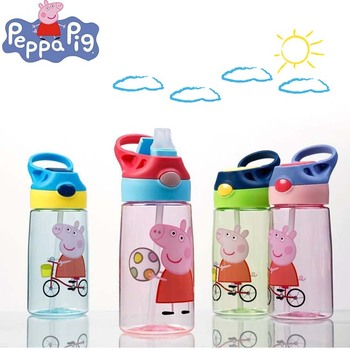 450ML Peppa Pig Cartoon Portable Water Drink Straw Bottle Sippy Cup with Lanyard Children Bottles Learning Drinking